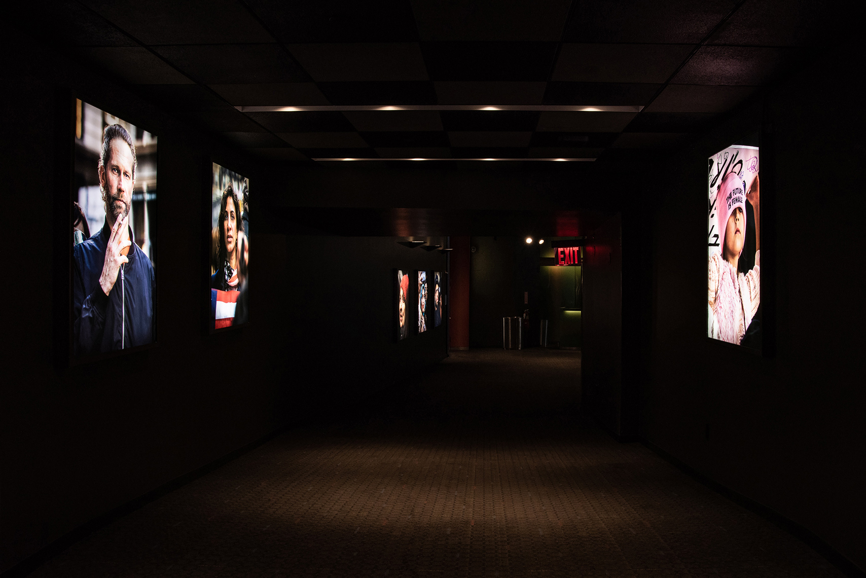 "Installation Documentation of ""A Collective Performance,"" SVA Theatre, NY, Sept 2019. 9 Lightboxes, Color Duratrans, 48x36"""